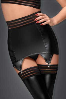 Noir Powerwetlook Garter Belt with Elastic Tape